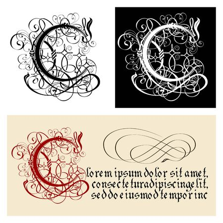 Decorative Gothic Letter C. Uncial Fraktur calligraphy. Vector Eps-8 separated by groups and layers for easy edit.