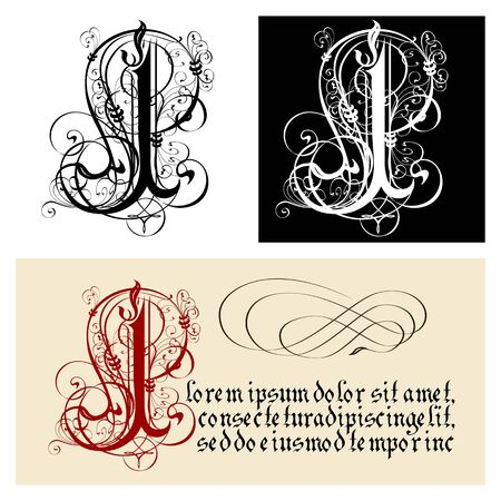 Decorative Gothic Letter I. Uncial Fraktur calligraphy. Vector Eps-8 separated by groups and layers for easy edit.