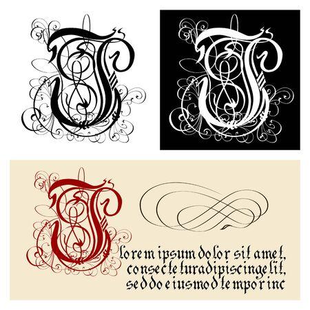 Decorative Gothic Letter J. Uncial Fraktur calligraphy.