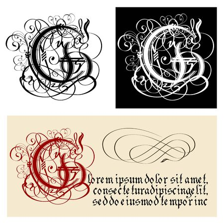 Decorative Gothic Letter G. Uncial Fraktur calligraphy. Vector Eps-8 separated by groups and layers for easy edit. Illustration
