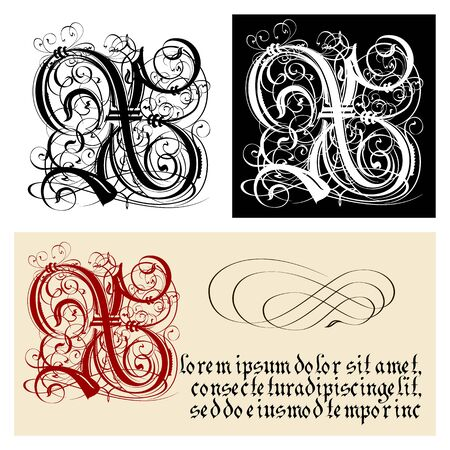 Decorative Gothic Letter X. Uncial Fraktur calligraphy. Vector Eps-10 separated by groups and layers for easy edit.