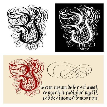 Decorative Gothic Letter Y. Uncial Fraktur calligraphy. Çizim