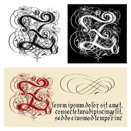 Decorative Gothic Letter Z. Uncial Fraktur calligraphy. Illustration