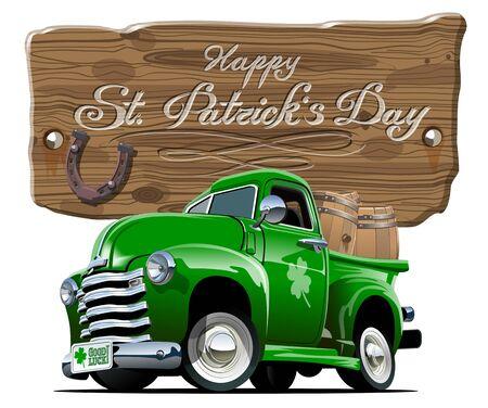 Vector Saint Patricks retro cartoon beer pick-up