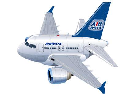 Cartoon Commercial Airplane Vektorové ilustrace