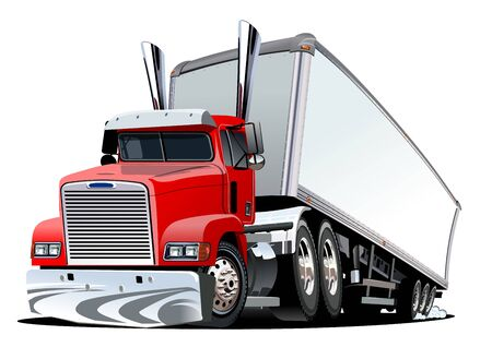 Cartoon cargo semi truck isolated on white background Ilustracja