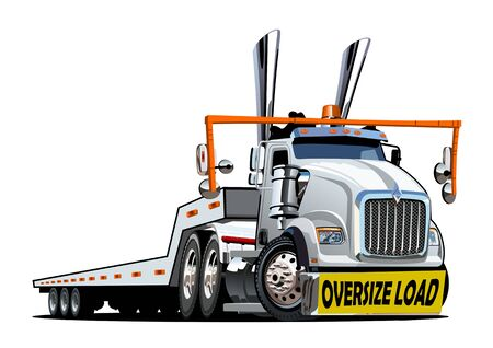 Cartoon oversize load transporter truck isolated on white background. Available EPS-10 vector format separated by groups and layers for easy edit Ilustracja