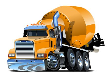 Vector Cartoon Concrete Mixer Truck Available EPS-10 vector format separated by groups and layers for easy edit