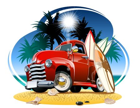 Vector cartoon retro pickup on beach