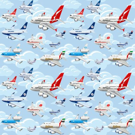 Cartoon commercial airplanes seamless pattern