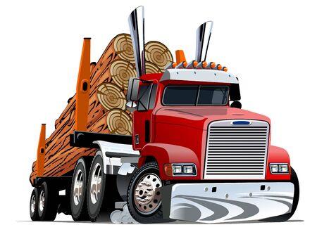 Cartoon logging truck Ilustracja
