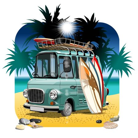 Vector Cartoon Retro Camper Van. Available eps-10 vector format separated by groups with transparency effects for one-click repaint