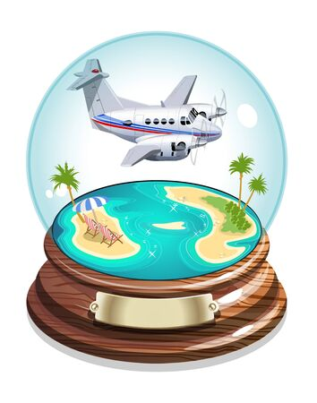 Vector Cartoon Summer Crystal Ball. Available EPS-10 vector format separated by groups for easy edit