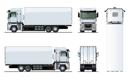 Vector truck template isolated on white