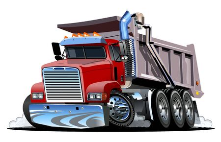 Vector Cartoon Dump Truck. Vettoriali