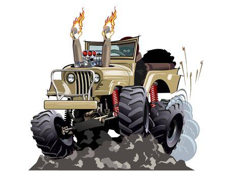 Vector Cartoon 4x4 car hot rod isolated Illustration