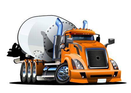 Cartoon Concrete Mixer Truck Illustration