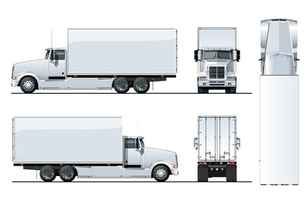 Vector truck template isolated on white for car branding and advertising. Available EPS-10 separated by groups and layers. Ilustración de vector