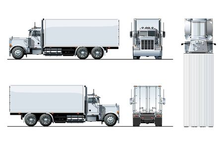 Vector truck template isolated on white for car branding and advertising. Available EPS-10 separated by groups and layers.