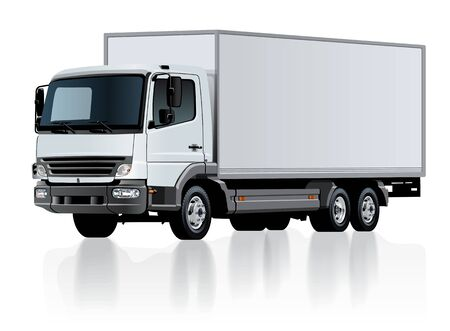 Vector delivery cargo truck template isolated