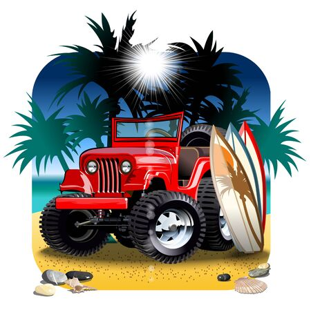 Vector cartoon 4x4 car on beach. Available eps-10 vector format separated by groups with transparency effects for one-click repaint