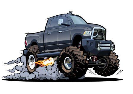 Vector Cartoon 4x4 pickup isolated