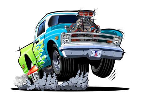 Cartoon retro hot rod isolated on white background Ilustração