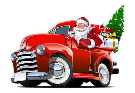 Cartoon retro Christmas pickup Vector Illustration