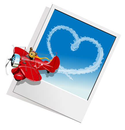 Valentines Card with Cartoon airplane Vecteurs