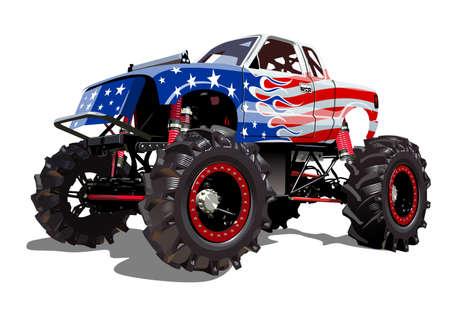 Vector Cartoon Monster Truck isolated on white background Ilustração Vetorial