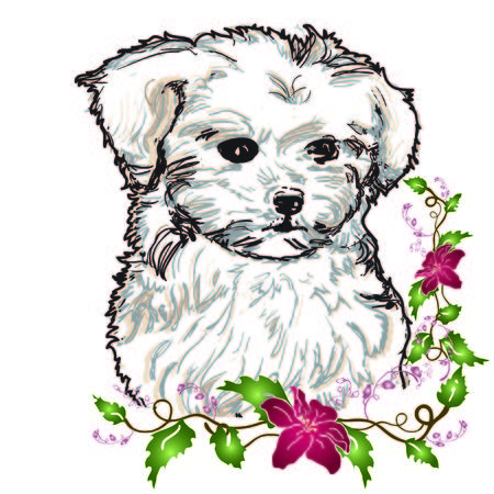 puppy drawing with flowers Vectores