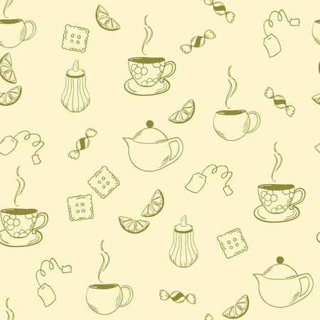 sugarbowl: seamless pattern in the tea category for your desing Illustration
