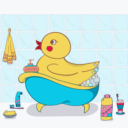 desing: illustration of the duck in the bath for your desing
