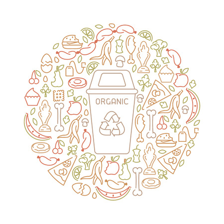 Banner with organic trash and trashcan. Line style vector illustration Illustration