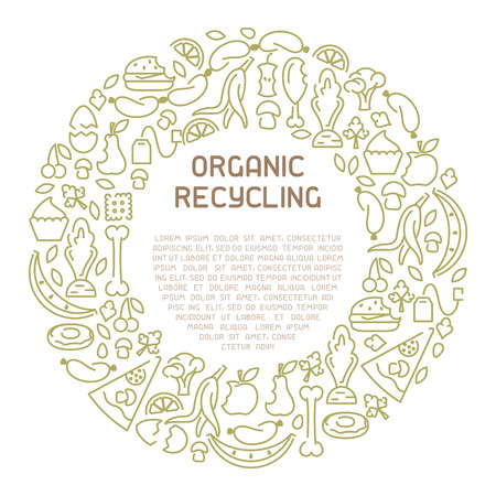 Organic waste information banner. Line style vector illustration. There is place for your text Foto de archivo - 113028058