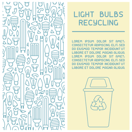 Light bulbs recycling info booklet. Line style vector illustration. There is place for your text