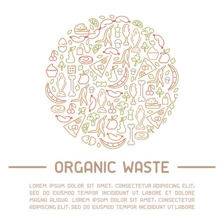 Bannière d'information sur les déchets organiques. Illustration vectorielle de style de ligne. Il y a de la place pour votre texte Vecteurs