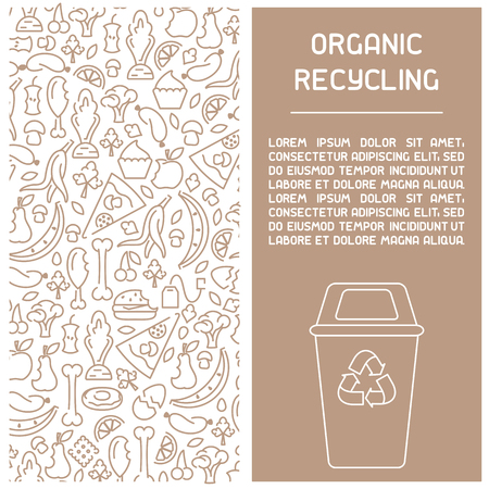 Organic waste recycling information booklet. Trash flies in the trash can. Line style vector illustration. There is place for your text