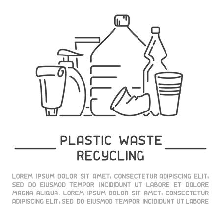 Informationsbanner für Plastikmüll. Linienstil-Vektor-Illustration. Es ist Platz für Ihren Text