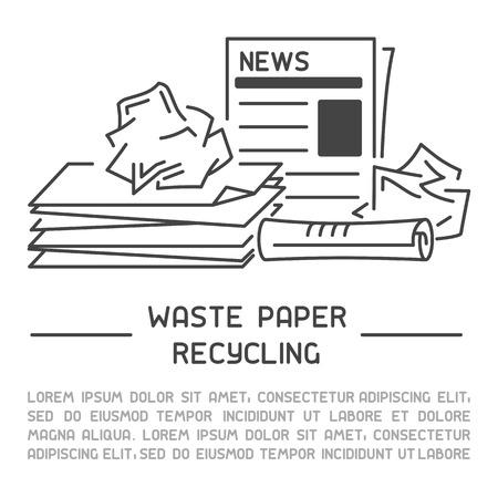 Informationsbanner für Altpapier. Linienstil-Vektor-Illustration. Es ist Platz für Ihren Text Vektorgrafik