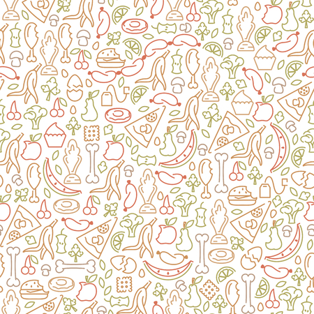Seamless pattern with organic trash elements. Line style vector illustration