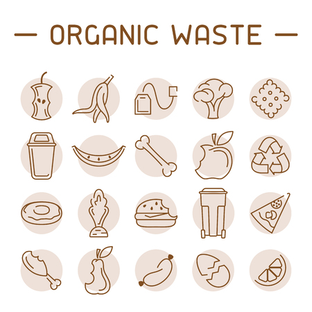 Organic waste icons set. Linear style vector illustration