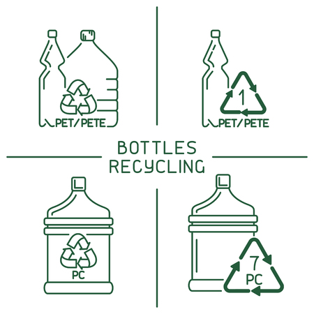 Plastic bottles recycling set. Linear style vector illustration