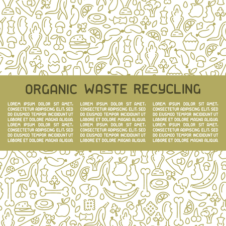 Organic waste information poster. Line style vector illustration. There is place for your text