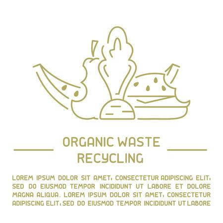 Informationsbanner für organische Abfälle. Linienstil-Vektor-Illustration. Es ist Platz für Ihren Text Vektorgrafik
