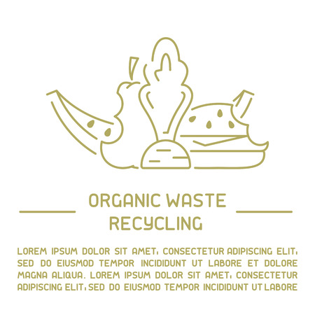 Organic waste information banner. Line style vector illustration. There is place for your text