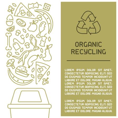 Informationsbroschüre für organische Abfälle. Linienstil-Vektor-Illustration. Es ist Platz für Ihren Text