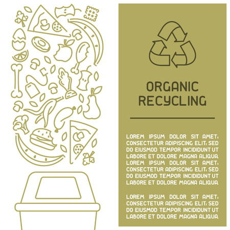 Organic waste information booklet. Line style vector illustration. There is place for your text