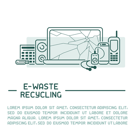 E-waste info poster ready concept with old appliances and inscription. Line style vector illustration. There is place for your text