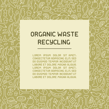 Organic waste information poster. Line style vector illustration. There is place for your text Foto de archivo - 113028078